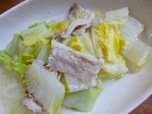 茅乃舎(かやのや)の和風だし塩のみの味付け(豚肉と白菜)の写真