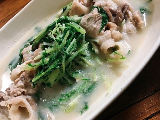 水菜と豚肉の胡麻豆乳煮